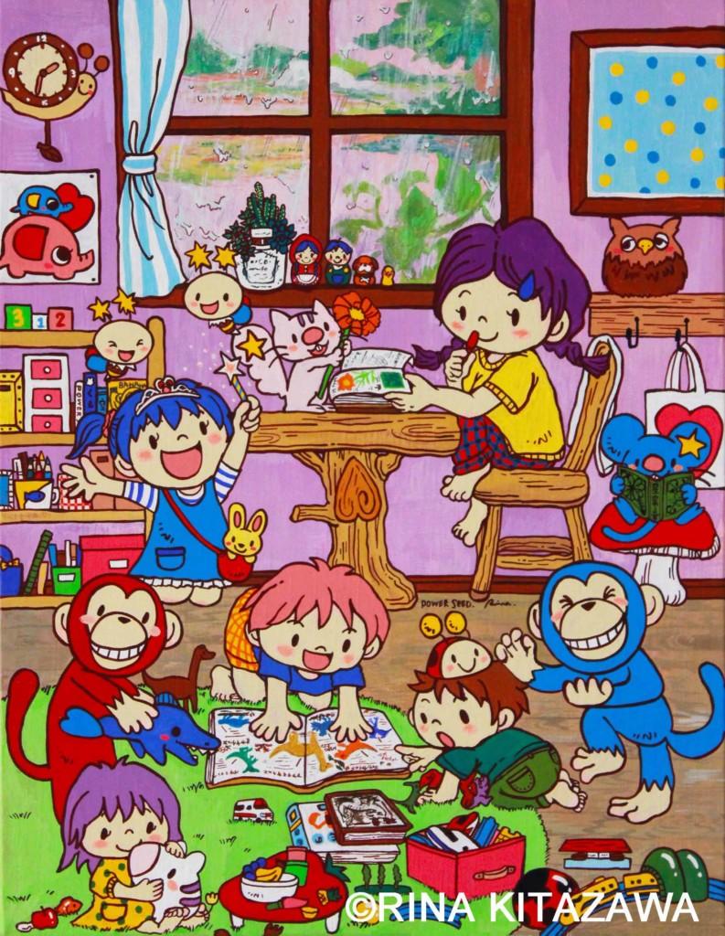 楽描き職人 雨の日 絵のある生活 絵のある暮らし 日常 暮らしを彩る こども こどもの世界 POWER SEED こども部屋 おもちゃ