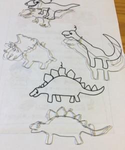 ワイヤークラフト、ワイヤーアート、恐竜、ステゴサウルス