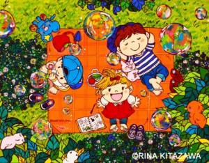 楽描き職人、子どもの世界、暮らしを彩る、暮らしを楽しむ、絵のある暮らし、絵のある生活、楽描き、日常、日常の風景、植物のある暮らし、絵を飾る、シロツメクサ、ひなたぼっこ、ピクニック