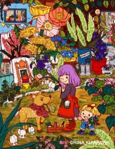 楽描き職人、子どもの世界、暮らしを彩る、暮らしを楽しむ、絵のある暮らし、絵のある生活、楽描き、日常、日常の風景、植物のある暮らし、絵を飾る、雑草、花屋さん、園芸店