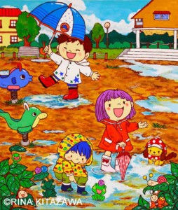 楽描き職人、子どもの世界、暮らしを彩る、暮らしを楽しむ、絵のある暮らし、絵のある生活、楽描き、日常、日常の風景、植物のある暮らし、絵を飾る、雨上がり 子供の世界