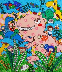 楽描き職人、子どもの世界、暮らしを彩る、暮らしを楽しむ、絵のある暮らし、絵のある生活、楽描き、日常、日常の風景、植物のある暮らし、絵を飾る、無邪気、笑顔になれる、子どもの頃、POWER SEED、arthandmade、てづバ、恐竜