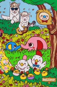 楽描き職人、子どもの世界、暮らしを彩る、暮らしを楽しむ、絵のある暮らし、絵のある生活、楽描き、日常、日常の風景、植物のある暮らし、絵を飾る、無邪気、笑顔になれる、子どもの頃、POWER SEED、ウェルカムボード、ウェディング、結婚式、大阪城